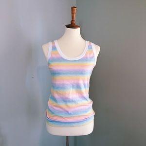 vintage 80's rainbow striped multicolored tank top